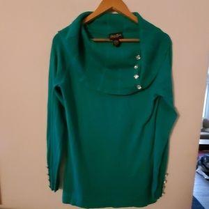 Patti La Belle Cowl Neck Green Sweater - S